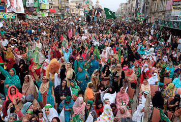 Supporters of Pakistan Muslim League (Nawaz) (PML-N) attend the party's social media convention in Rawalpindi