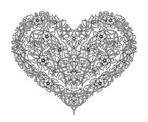 Vector intricate tracery with flowers and tangled branches in the shape of heart. Detailed pattern, perfect for decoration and design. Black and white isolated lace flourishes.