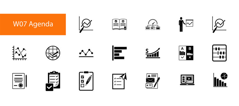 Business research icon set