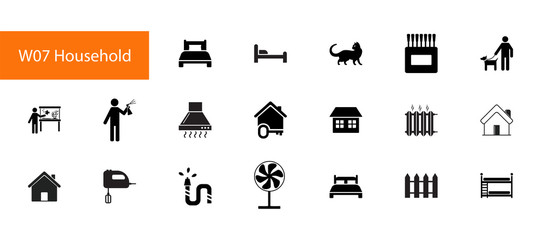 Household items icon set