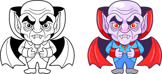 funny cartoon vampire, vector illustration