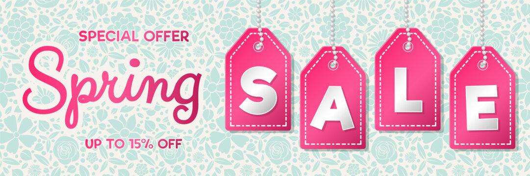 Vibrant banner for Spring Sale. Vector.