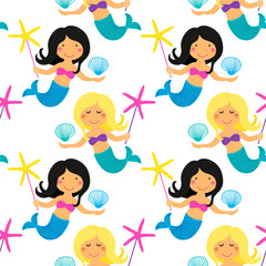 Cute childish hand drawn seamless pattern with cartoon character of little mermaid with sea starfish and shell
