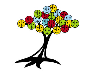 Tree of smiles and joy. Tree with smiley face instead of leaves. Red, yellow, blue, green colors.