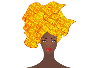 portrait of the young African woman in a colorful turban. Wrap Afro fashion, Ankara, Kente, kitenge, African women dresses. Nigerian style, Ghanaian fashion. Vector isolated for Print, poster, t-shirt