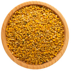 Bee pollen in bowl isolated on white