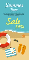Web Sale banner. Flip- flops in the sand with towel, sun glasses and others