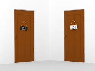 Choice or changes concept. Two doors with plates with texts new and old life 3d illustration