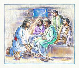 Illustration. Jesus washes the disciples' feet.