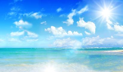 Photo sur Toile Plage Ferien, Tourismus, Urlaub, Sommer, Sonne, Strand, Auszeit, Meer, Glück, Entspannung, Meditation: Traumurlaub an einem einsamen, Karibischen Strand :)