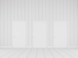 3d stimulate of minimal room with white door on the white wall and plank wood,concept of interior space