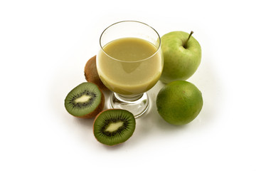 Green fruit smoothie stock images. Fresh various fruits. Multivitamin juice images. Glass of juice with fruits. Multivitamin juice with fruits on a white background. Mixture of green fruit