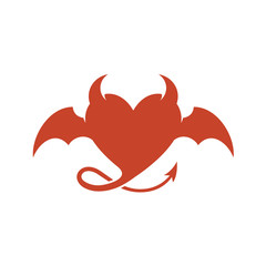 Devil heart logo with wings and horns.
