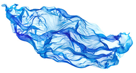 Flying Blue Fabric Wave, Flowing Waving Silk Cloth, Fluttering Waves Material on White Background