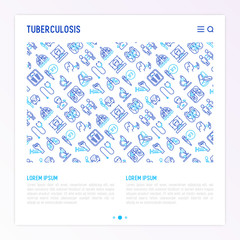 Tuberculosis concept with thin line icons: infection in lungs, x-ray image, dry cough, pain in chest and shoulders, Mantoux test, weight loss. Modern vector illustration for banner, web page template.
