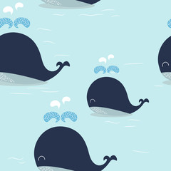 Blue Whale pattern.  Vector eps 10