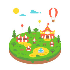 Flat design amusement park