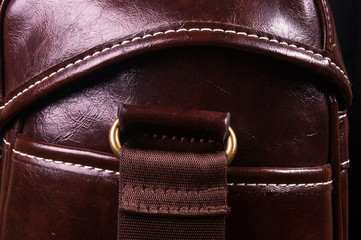 fittings on the leather hand bag