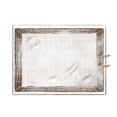 swimming pool top view, sketch vector graphic monochrome drawing