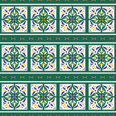 Moroccan tile pattern vector with border ornaments. Portuguese azulejo, mexican talavera, italian or spanish majolica motif. Arabic tiled texture background for kitchen or bathroom flooring ceramic.