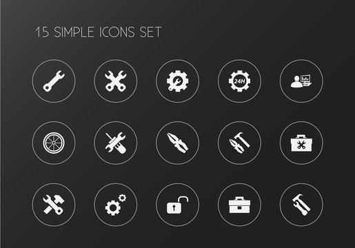 Set of 15 editable mechanic icons. Includes symbols such as toolbox, gears, 24 hour service and more. Can be used for web, mobile, UI and infographic design.