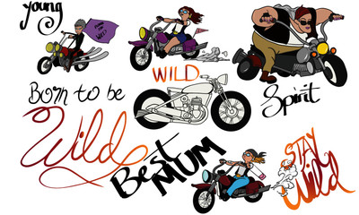 A selection of digitally hand drawn images of ladies on motor vehicles, representing age is just a number. These images can be used for any female in your life who is cool and young at heart