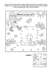 Where is my hat? St. Patrick's Day themed connect the dots picture puzzle and coloring page with leprechaun and his hat. Answer included.