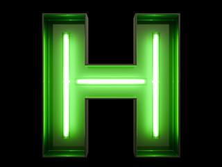 Neon green light alphabet character H font