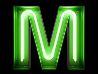Neon green light alphabet character M font