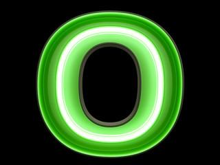 Neon green light alphabet character O font