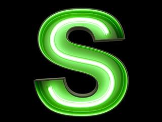 Neon green light alphabet character S font