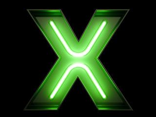 Neon green light alphabet character X font