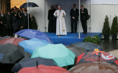 Pope Francis speaks during his visit to the Community of Sant'Egidio to mark the 50th anniversary of foundation, in Rome