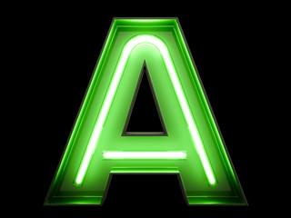 Neon green light alphabet character A font