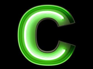 Neon green light alphabet character C font