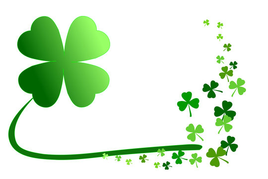Pattern of green shamrocks, 4-leaf clover among 3-leaf; isolated on white background. Vector illustration. Concepts of Happy St. Patrick's day! holiday celebration, lucky, happiness, outstanding, etc.