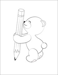 teddy bear with a pencil coloring