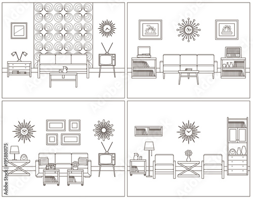 Room linear interior vector living rooms in line art flat design room linear interior vector living rooms in line art flat design furniture ccuart Gallery