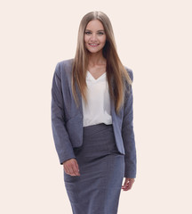 confident business woman stepping forward