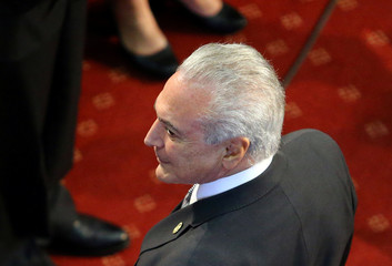 Brazil's President Michel Temer arrives at the inauguration ceremony of Chile's President-elect Sebastian Pinera at the Congress in Valparaiso