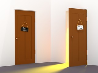New life choice concept. Two doors for select and one door opened with light  3d illustration