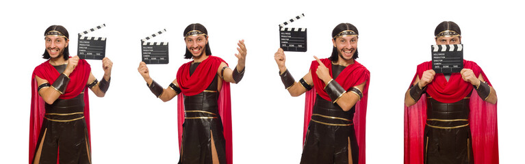 Gladiator with clapper-board isolated on white