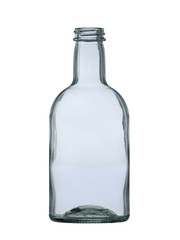 empty glass bottle for vodka, whiskey, cognac, brandy isolated on white background