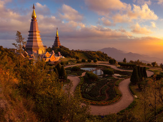 Landscape two pagoda at doi Inthanon national park , Chiang mai ,Thailand,