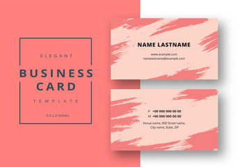 Abstract Business Card Layout with Pink Brush Strokes