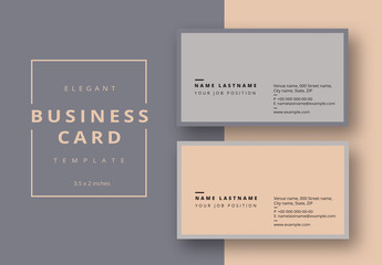 Business Card Layout with Gray and Tan Accents