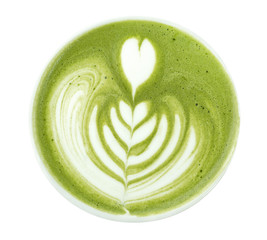 Top view of hot matcha green tea latte art foam isolated on white background, clipping path included