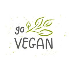 Vector eco, bio green logo or sign. Vegan  healthy food