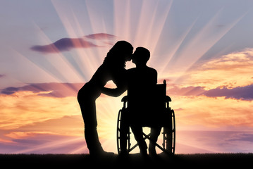 Concept of caring and supporting disabled people