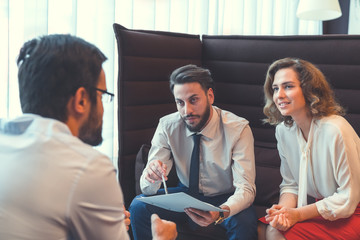Young business people in the workplace